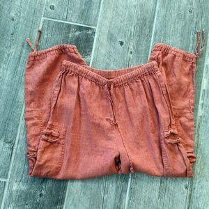 Flax Linen Crop Drawstring Medium Rust Orange